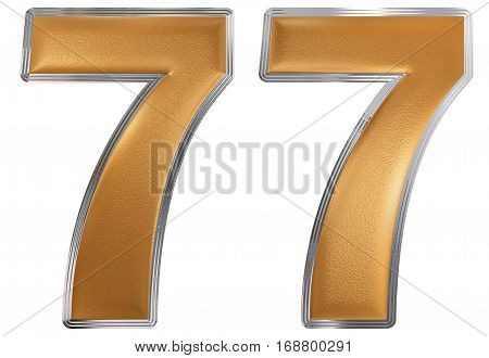 Numeral 77, Seventy Seven, Isolated On White Background, 3D Render