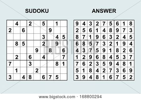 Vector sudoku with answer 43. Puzzle game with numbers.