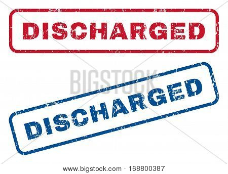 Discharged text rubber seal stamp watermarks. Vector style is blue and red ink caption inside rounded rectangular shape. Grunge design and scratched texture. Blue and red stickers.