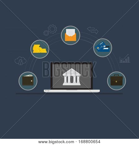 Online Banking. Laptop with Bank Symbol and Banking Icon
