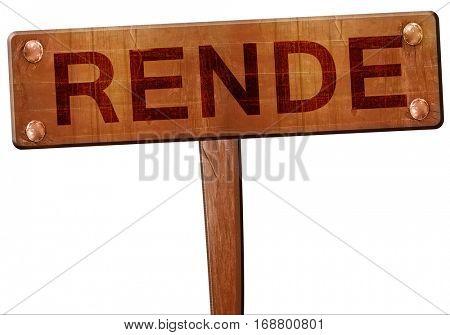 Rende road sign, 3D rendering