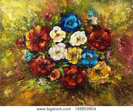 Original oil painting showing fresh flowers bouquet on canvas.Modern Impressionism modernismmarinism