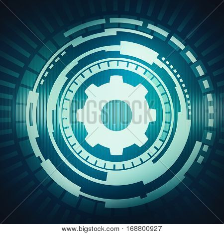 Abstract digital concept touch screen circle interface with gear icon on circuit techno background. For branding graphic design.