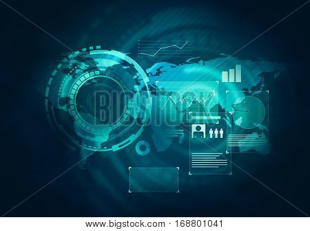 Abstract future concept business technology futuristic blue virtual graphic touch screen user interface HUD