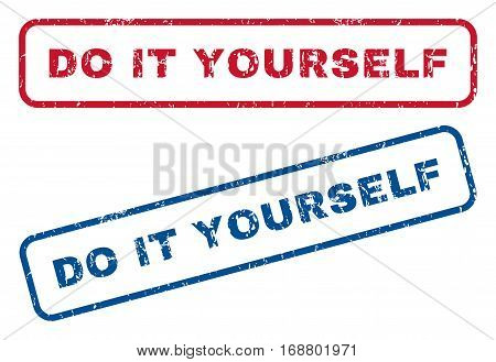 Do It Yourself text rubber seal stamp watermarks. Vector style is blue and red ink tag inside rounded rectangular banner. Grunge design and scratched texture. Blue and red signs.