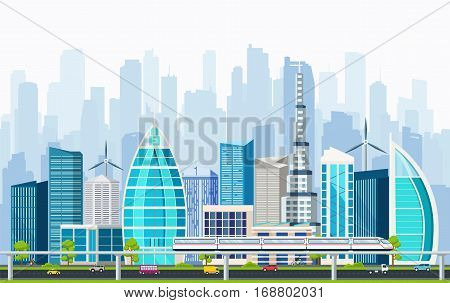 Business smart city with large modern buildings and transport interchange. Internet concept city life.