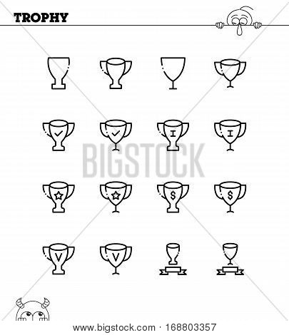 Trophy flat icon set. Collection of high quality outline symbols for web design, mobile app. Trophy vector thin line icons or logo.