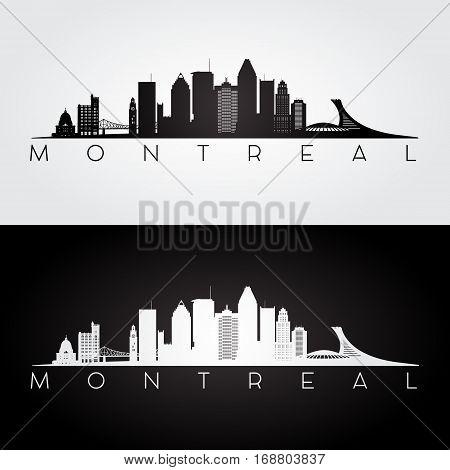 Montreal skyline and landmarks silhouette black and white design vector illustration.
