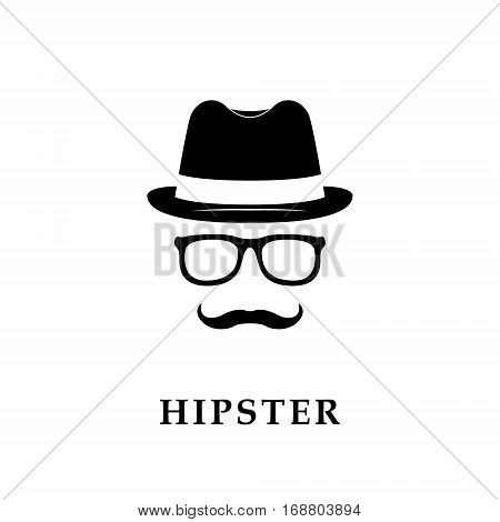 Vintage silhouette of bowler mustaches glasses. Vector illustration of gentlemen or hipster.