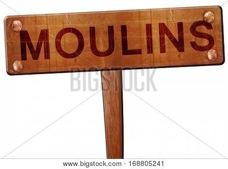 moulins road sign, 3D rendering