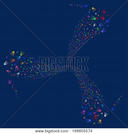 First Satellite fireworks swirl rotation. Vector illustration style is flat bright multicolored iconic symbols on a blue background. Object spiral made from random pictograms.