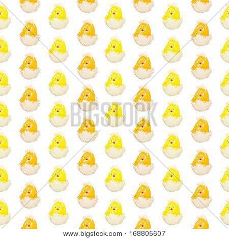 easter chick hatching from an egg pattern isolated. two colors