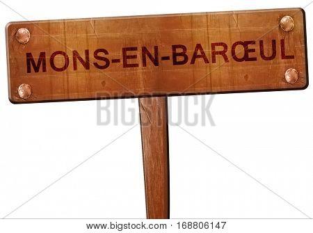 mons-en-baroeul road sign, 3D rendering