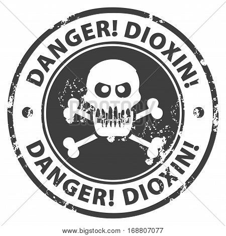 Grunge rubber stamp with the text Danger, Dioxin written inside the stamp