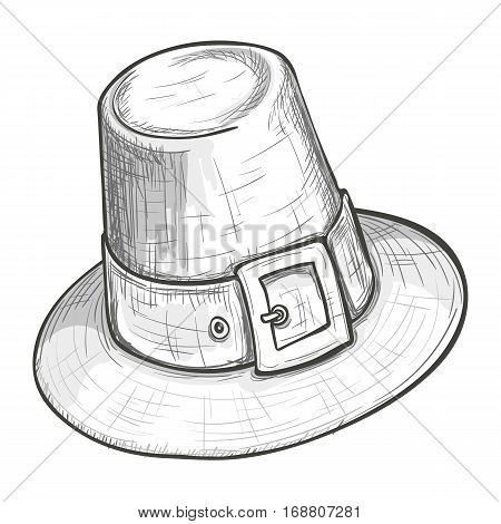 Monochrome sketch style illustration of pilgrim hat with buckle Thanksgiving Day symbol. Vector.