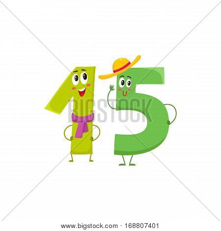 Cute and funny colorful 15 number characters, cartoon vector illustration isolated on white background. fifteen smiling characters, birthday greetings, anniversary