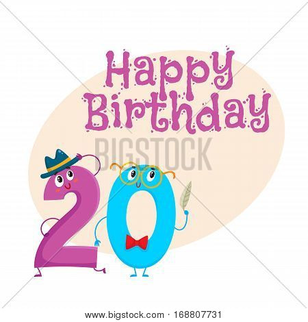 Happy birthday vector greeting card, poster, banner design with cute and funny twenty number characters. twenty smiling characters, happy birthday greeting card template