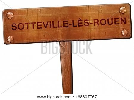 sotteville-les-rouen road sign, vintage green with clouds backg