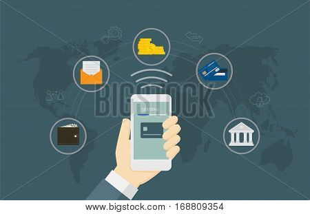 Online Money Transaction Concept. People Send Online Money With Smartphone And Online Banking Icon