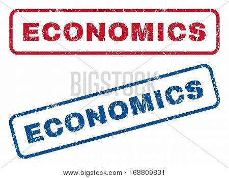 Economics text rubber seal stamp watermarks. Vector style is blue and red ink caption inside rounded rectangular shape. Grunge design and dirty texture. Blue and red signs.