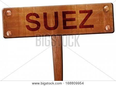 suez road sign, 3D rendering