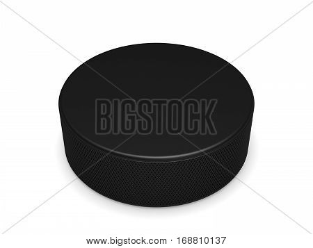 Black rubber hockey puck with copy space, close-up on a white background, 3D illustration.