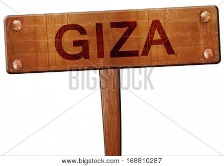 giza road sign, 3D rendering