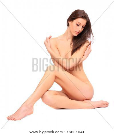 Picture of healthy naked woman over white.