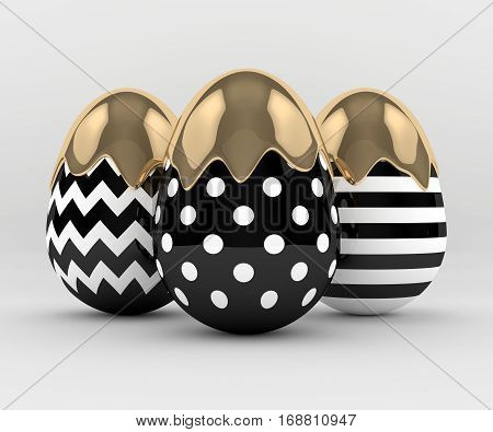 3D Rendering Of Easter Elegant Eggs With Gold Paint