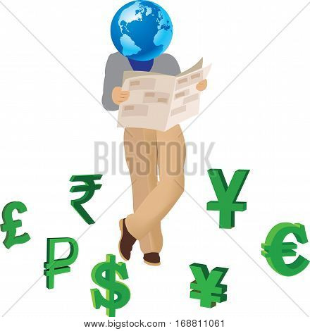 ground reading business paper surrounded by international currencies