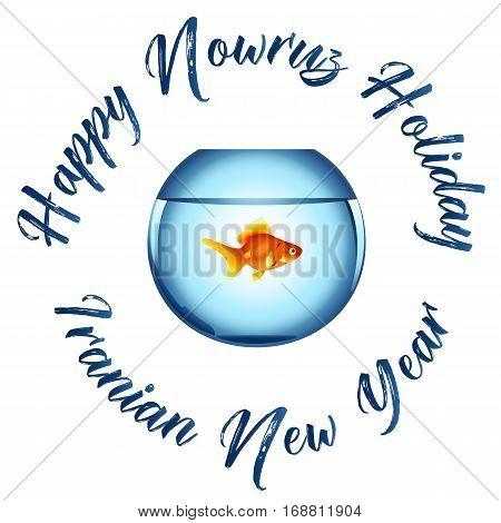 Nowruz greeting. Iranian new year. Aquarium with goldfish.