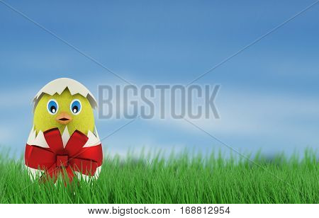 yellow chicken in a easter egg. 3d rendering