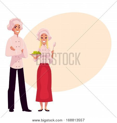 Young and handsome chefs, cooks, male and female, in white uniform, cartoon vector illustration on background with place for text. Full length portrait of man and woman working as chefs, cooks