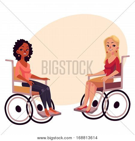 Young black and caucasian women in wheelchairs, cartoon vector illustration on background with place for text. African whitew omen in wheelchairs, living with disability, equal opportunities concept