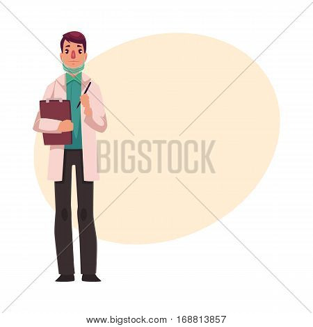 Young, handsome doctor in white lab coat and green uniform holding a clipboard, cartoon vector illustration on background with place for text. Full length portrait of young male doctor with clipboard