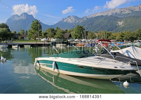 Boats moored on Lake Annecy in France