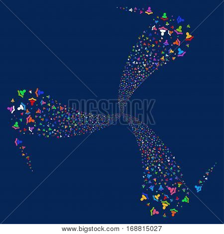 Reader fireworks swirl rotation. Vector illustration style is flat bright multicolored iconic symbols on a blue background. Object whirlpool combined from random pictograms.