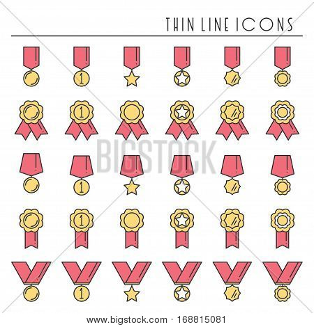 1st place gold medal award with ribbon collection. Winner line icons set. First place leadership champion achievement. Vector isolated illustration. Flat design. Success symbols. Object. Sign