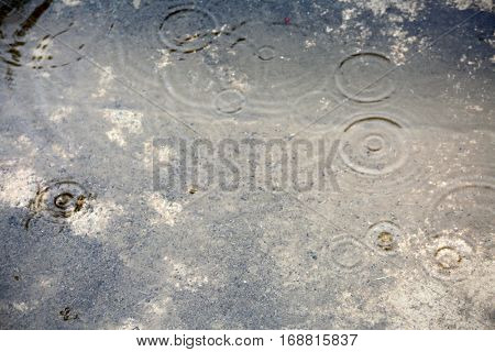 Rare Record Rain in Los Angeles California. Rain puddles with rain drops.