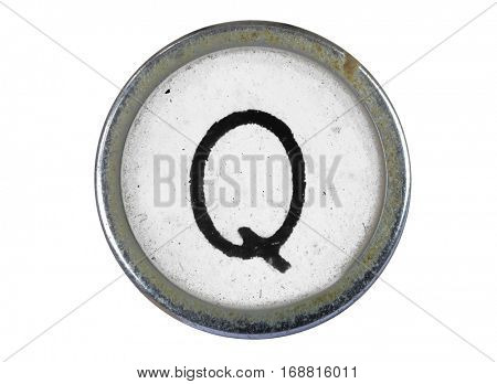 Vintage typewriter letter Q isolated on white