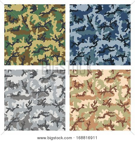 Seamless camouflage pattern background four color combinations woodland urban navy and desert.