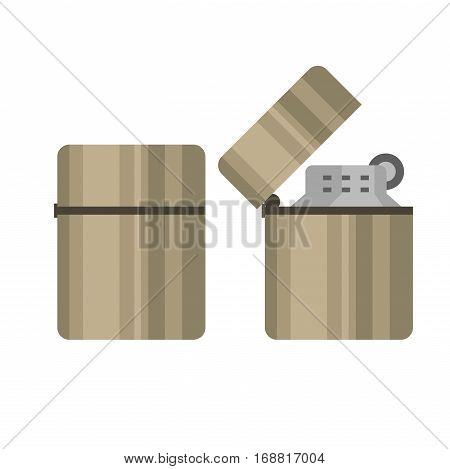 Cigarette lighter vector illustration. Closed and open cartoon style metallic lighter.