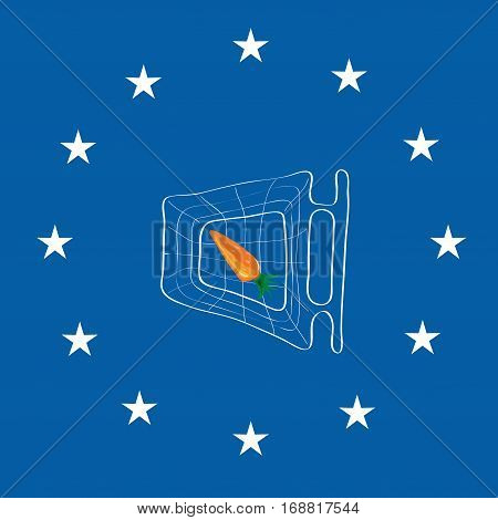 basket with a carrot on a blue background with stars / shortage of vegetables for Europe