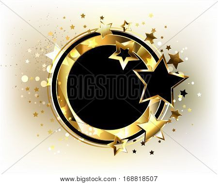 Round black banner with gold polygonal frame decorated with gold and black stars on a light background. Design with gold stars.