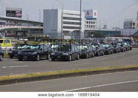 Osaka, Japan - Aug 10, 2015: Osaka Taxi Near The Osaka International Airport