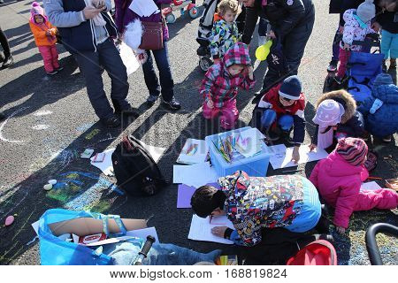 Children And Parents Protest By Drawing And Playing