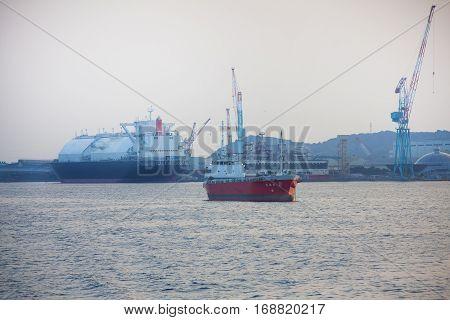 Nagasaki, Japan - September 27: Ships In Port Of Nagasaki, Japan.  September 27, 2015.
