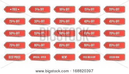 Isolated shopping tags set. Red discount labels. 5 10 15 20 25 30 35 40 45 50 55 60 65 70 75 80 85 90 95 percent. Vector illustration
