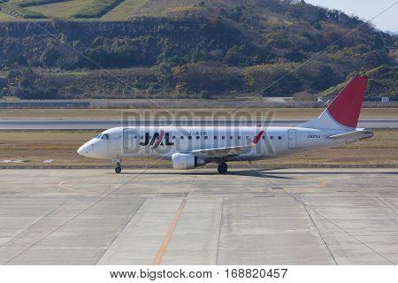 19 Dec 2015 Airport Nagasaki. Japan. Jal Airplane Ja211J In Airport Of Nagasaki (ngs), Omura