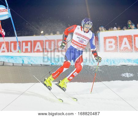 STOCKHOLM SWEDEN - JAN 31 2017: Dave Ryding (GBR) jumping in the downhill skiing in the parallel slalom alpine event Audi FIS Ski World Cup. January 31 2017 Stockholm Sweden